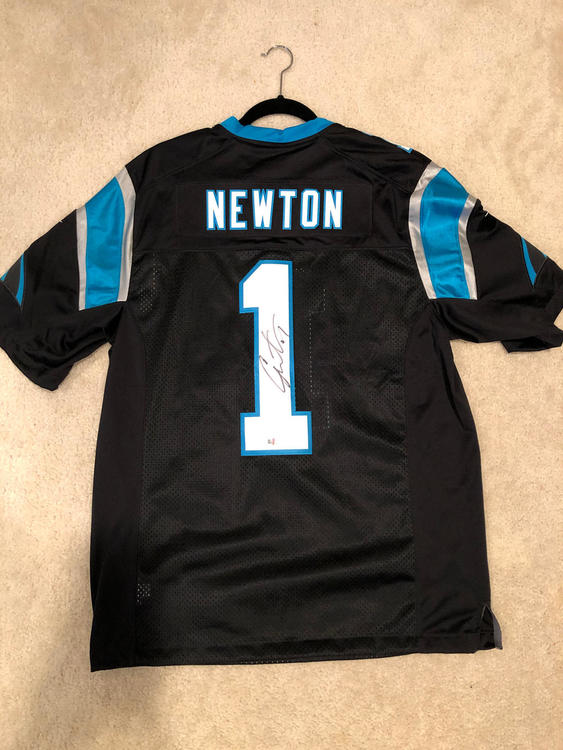 half off 7aa00 d9fd9 Black Signed Nike Elite Cam Newton Jersey