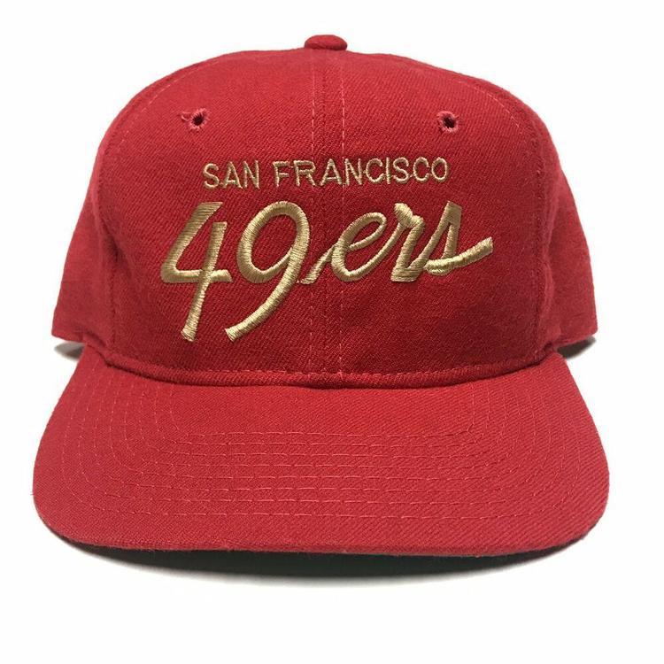 best service 09207 a354e VTG San Francisco 49ers Sports Specialties Single Line Script Snapback Hat  NFL