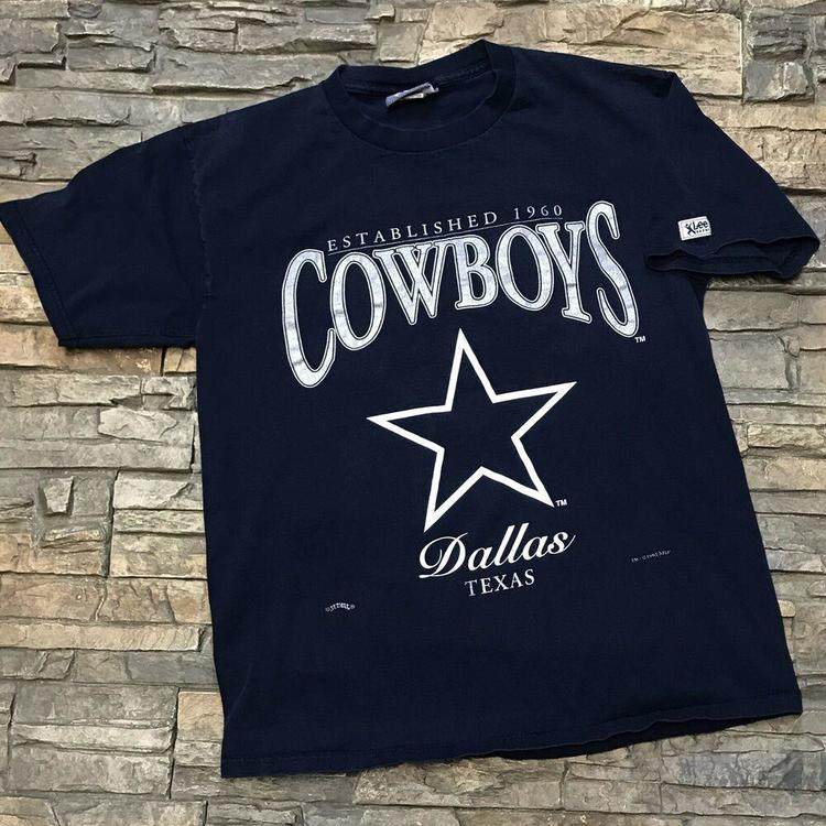 280413a95 VTG 1995 Dallas Cowboys NFL Football Navy Blue Tee Graphic T Shirt Mens  M/L. Related Items