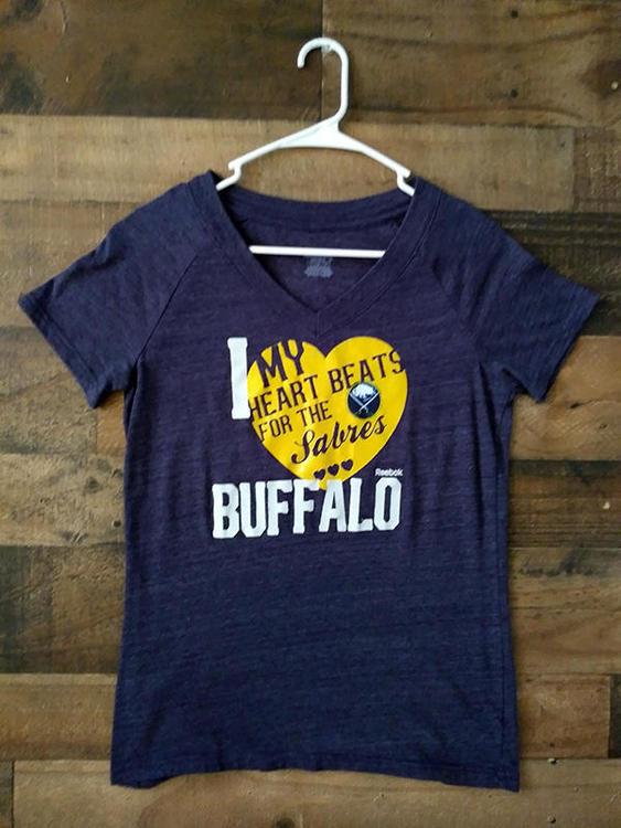 new concept 3d4fc 86e69 Ladies Reebok NHL Hockey BUFFALO SABRES Grey Heart Beat V-Neck Team Shirt