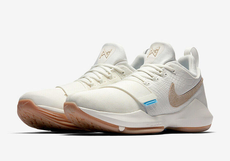 new style ba7bf 7e4a3 Nike PG 1 Ivory sz 7 White Cream Gum 878627 110 Paul George Basketball Shoe