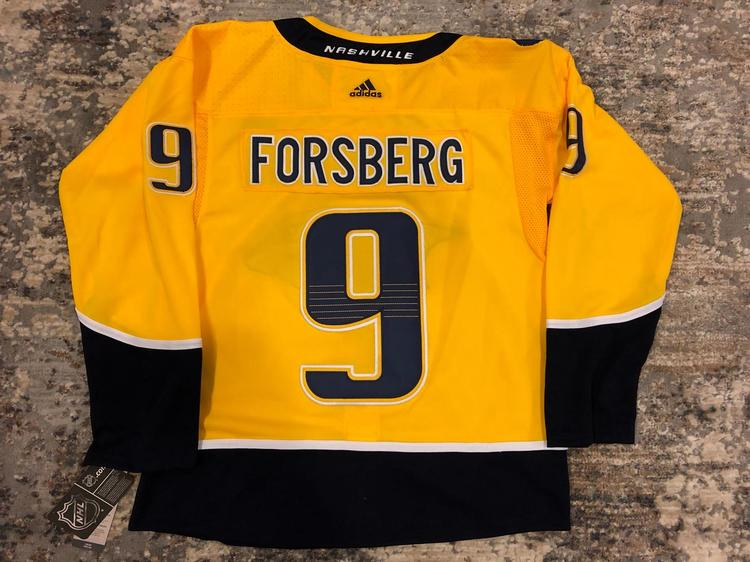 best service e065d 892f8 FILIP FORSBERG #9 Nashville Predators Yellow Home Replica Jersey