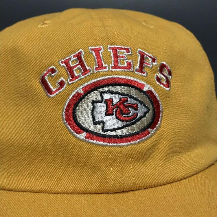 cb0982890e615 VTG Kansas City Chiefs Strapback Hat Dad Cap Yellow NFL Logo Athletic