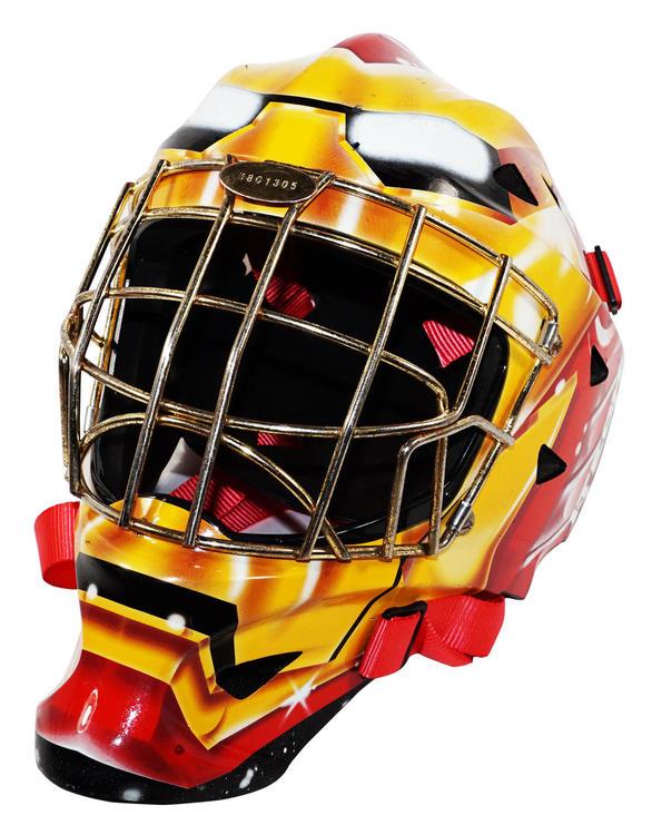 Itech Iron Man Marvel Comics 1400 Mask Ice Goal Helmet Sr Used