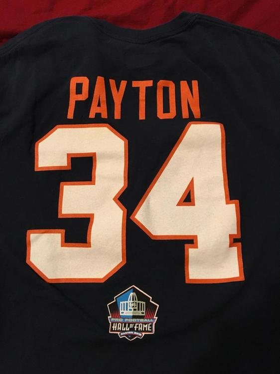 on sale a5d99 1ced6 Walter Payton HOF #34 Chicago Bears NFL Pro Football Hall of Fame Canton  T-Shirt Medium