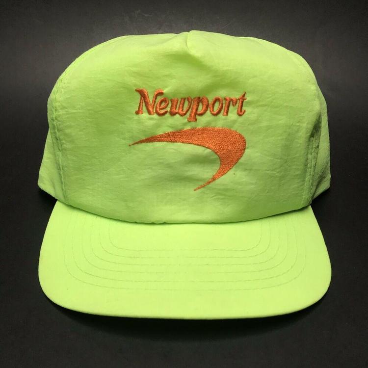 19736b34f08d65 VTG Newport Cigarettes Nylon Neon Yellow Snapback Hat 1990s Cap OSFA ...