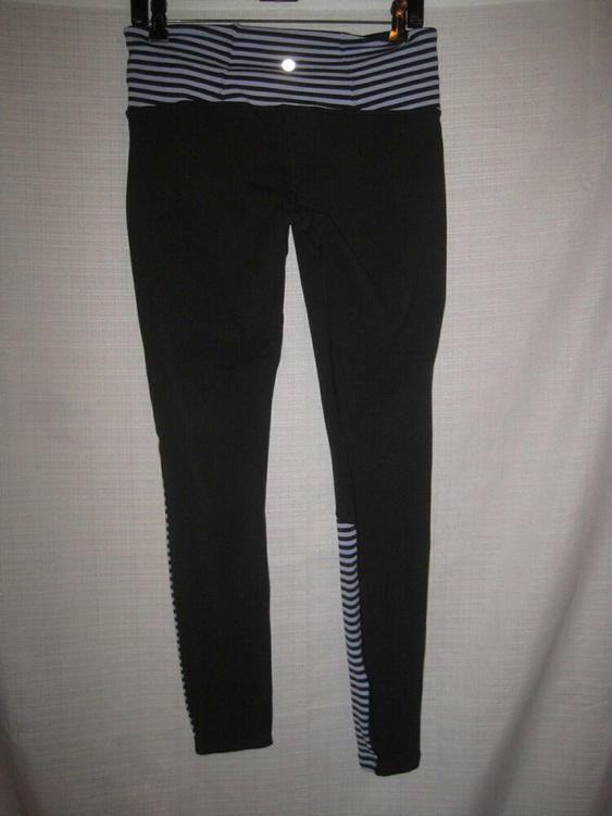 01e3985f7362e1 Lululemon CA 35801 RN 106259 Leggings Tights women's 10 black purple stripes  | Apparel Pants | SidelineSwap