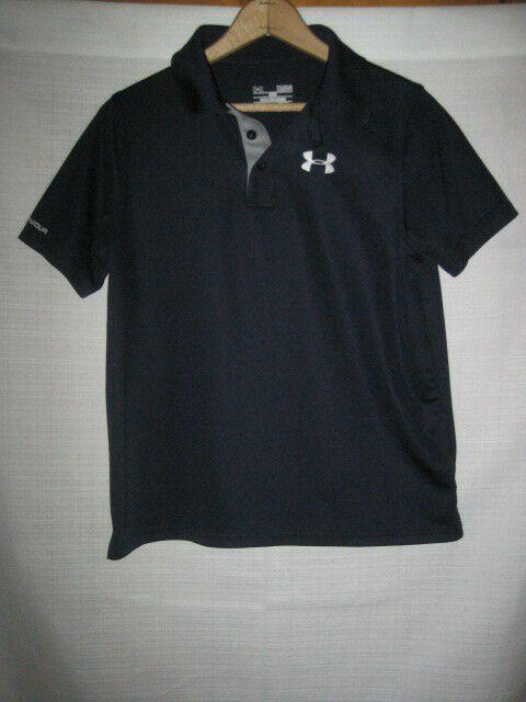 7878a83d Under Armour Heat Gear Polo Golf Shirt kids boys YLG L Navy Blue. Related  Items