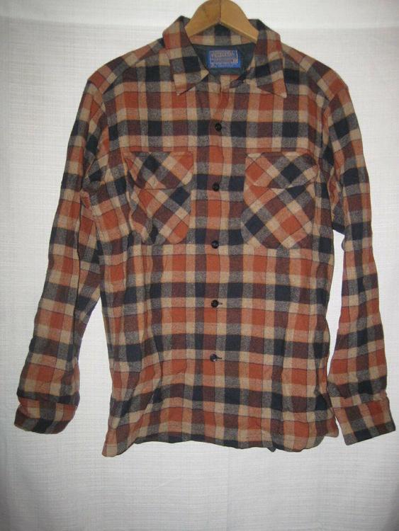 ce5d69349bcf Pendleton 100% Virgin Wool Plaid Shirt men's M brown outdoors ...