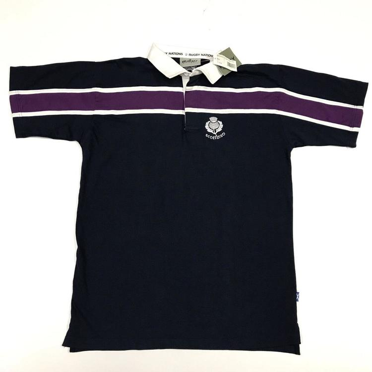 f9066540 Scotland Rugby Team Mens Size XL Blue Striped Polo Rugby Shirt ...