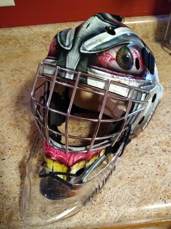 Bauer Nme 3 Mask Junior With Dangler Sold Hockey Goalie