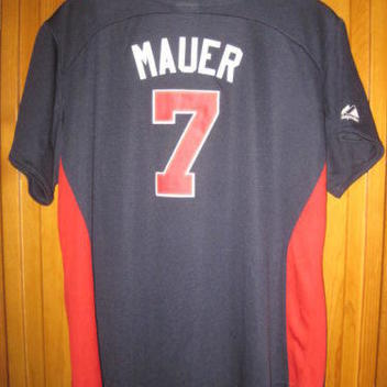 134bc721 Majestic Minnesota Twins Joe Mauer jersey women's L blue MLB | 15 ...