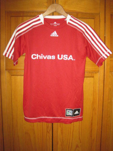 timeless design c0ed3 4b78a Chivas USA Adidas ClimaLite MLS soccer jersey boys L red #3 NWOT NEW