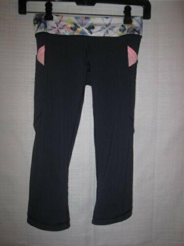 a83a1af585f2c Ivivva Athletica by Lululemon Legging Capri Pants girls 8 black gym yoga  running
