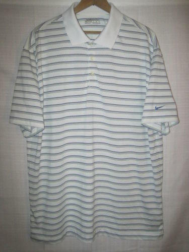a1818311 Nike Fit Dry short sleeve polo golf shirt men's XL white striped. Related  Items