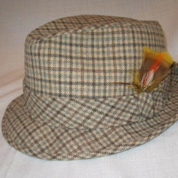5e415dfdfbe0d Vintage Pendleton Pure Virgin Wool Plaid Fedora Dress Hat men s L ...