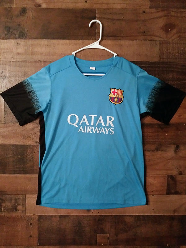 La Liga Fc Barcelona Qatar Airways Blue 18 Polyester Jersey Soccer Apparel Jerseys
