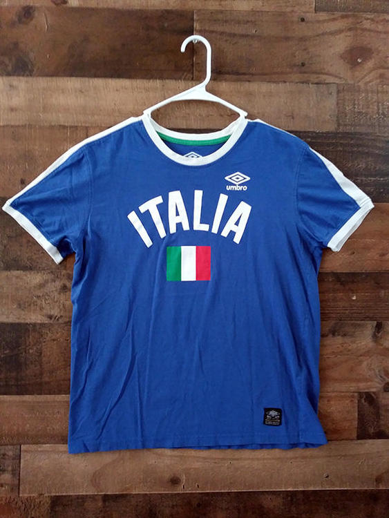 ab8f045899a Umbro FIFA Soccer ITALY NATIONAL FOOTBALL Blue White Ringer Style Team Shirt