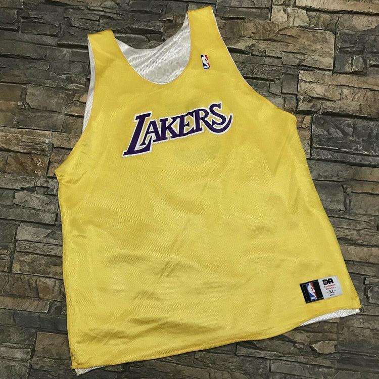 new arrival 7d432 1c3b5 VTG Los Angeles Lakers #35 Reversible Practice Jersey NBA Basketball Mens  L/XL