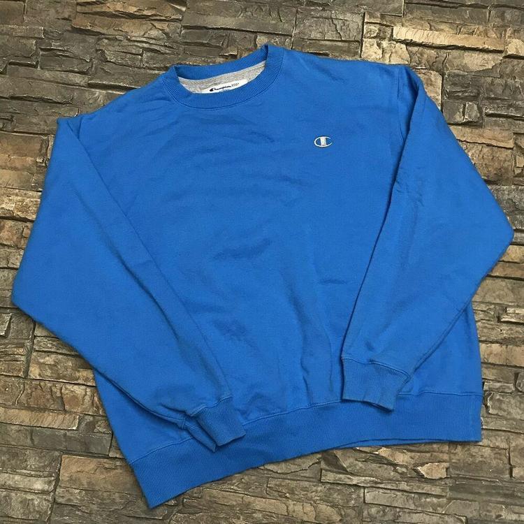fc650c8d Champion Eco Crewneck Sweatshirt Solid Blue Plain Logo Streetwear Casual  Mens XL. Related Items
