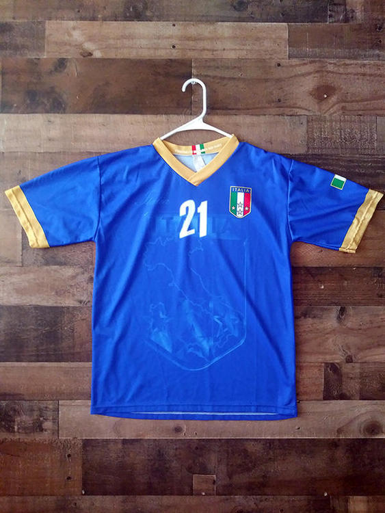 best website dd721 c340f FIFA Soccer ITALY NATIONAL FOOTBALL Blue White #21 Andrea Pirlo Player  Jersey