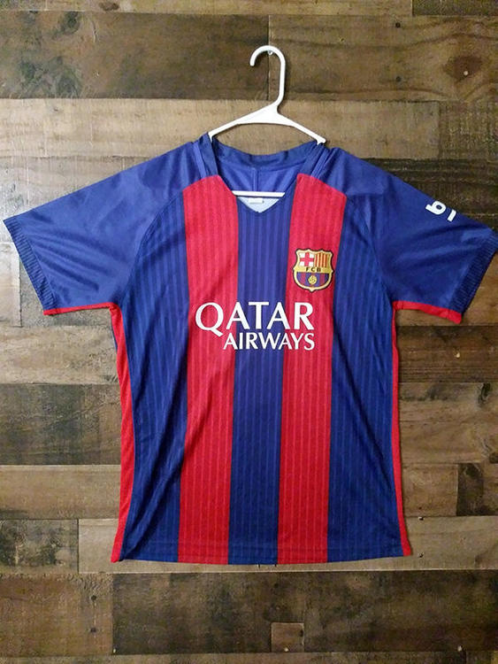 La Liga Fc Barcelona Qatar Airways Red Blue Striped 3 Polyester Jersey Soccer Apparel Jerseys