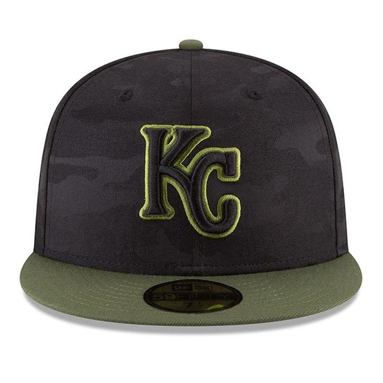 3d558edf NEW ERA KANSAS CITY ROYALS CAMO ON-FIELD HAT 5950 7 3/8 MEMORIAL DAY  OFFICIAL GORDON DUFFY CAMOUFLAG