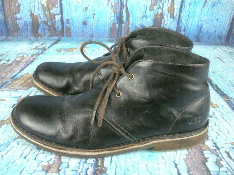 954f4cbf5bc UGG Australia #3275 Leighton Brown Leather Chukka Ankle Boot Men's Size 10.5