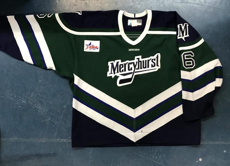 detailed look 52171 a7b3d New - NCAA College Hockey Game Jersey - Mercyhurst - Green