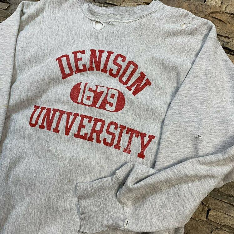 1815f596 VTG Denison University Reverse Weave Crewneck Champion Sweatshirt ...