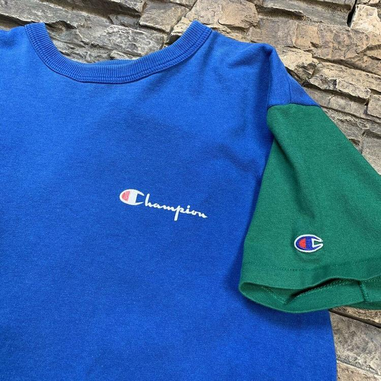 7198ea596f96 VTG Custom Champion Spell Out T Shirt Blue Green Mens 90s Two Tone M/L.  Related Items