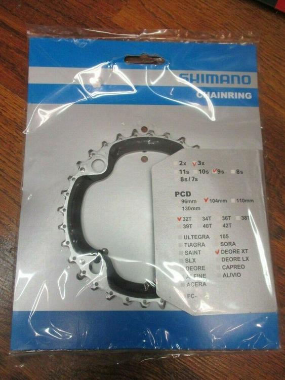 NEW SHIMANO DEORE XT / FC-M770 4 BOLT 104 BCD 32T 3X 9 SPEED TRIPLE  CHAINRING