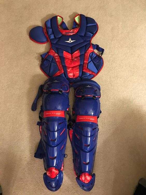 af84fb764 Chirinos Texas Rangers All Star Catchers Gear Axis Pro Issue Leg  Guards/Chest