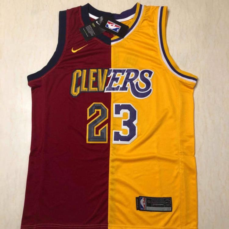 new style 361a5 b09ff Split Cleveland + Lakers #23 Lebron James Basketball Jersey NWT Men's  Stitched