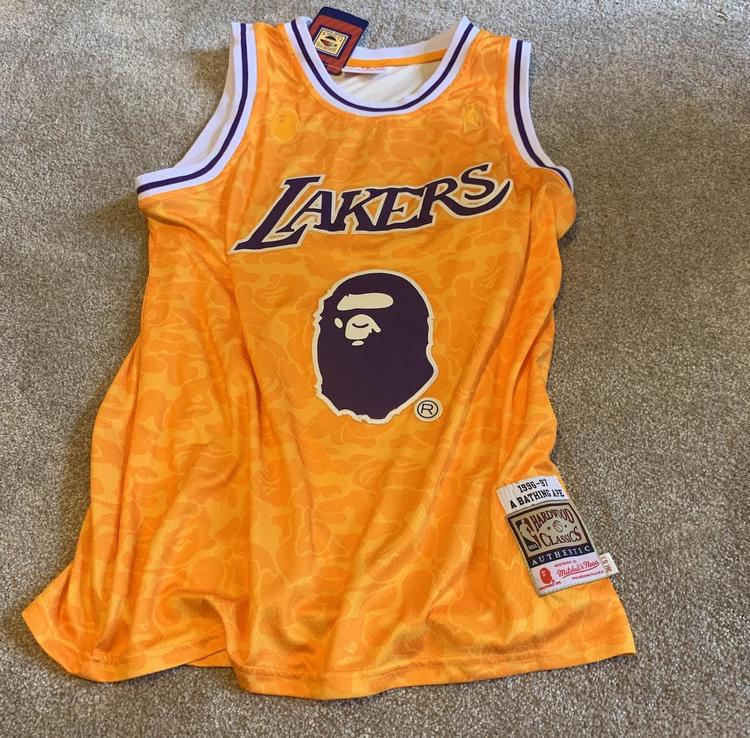 hot sale online f83a9 79088 Authentic Bape Lakers Jersey