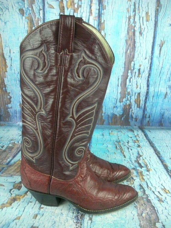 202761f46db Larry Mahan Oxblood Brown Leather Ostrich Cowboy Western Boots Women's 8 N