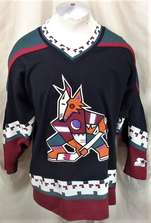 8a6d8dab4 Vintage 90's Starter Phoenix Coyotes (Medium) Pullover Knit NHL Black Jersey  | SOLD | Hockey Apparel, Jerseys & Socks | SidelineSwap