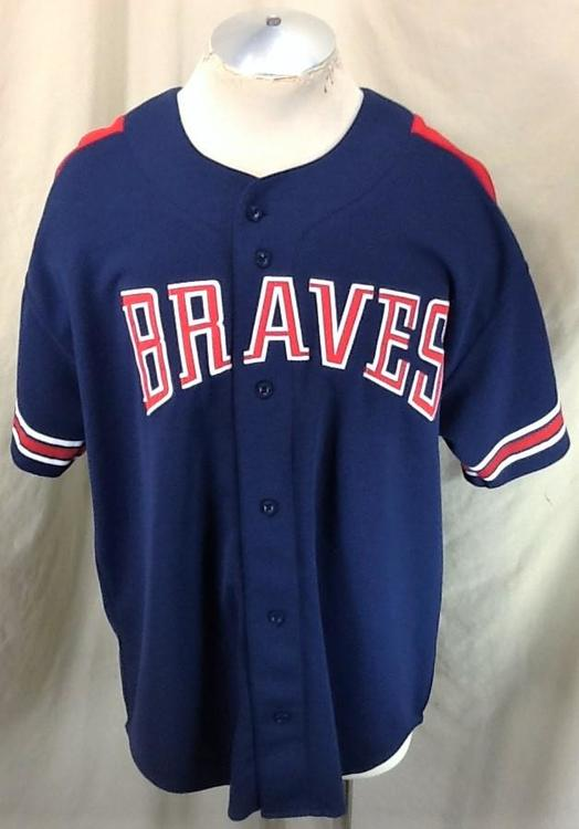 new style da886 3b6c1 Vintage 90's Starter Atlanta Braves Baseball (XL) Button Up MLB Jersey Blue