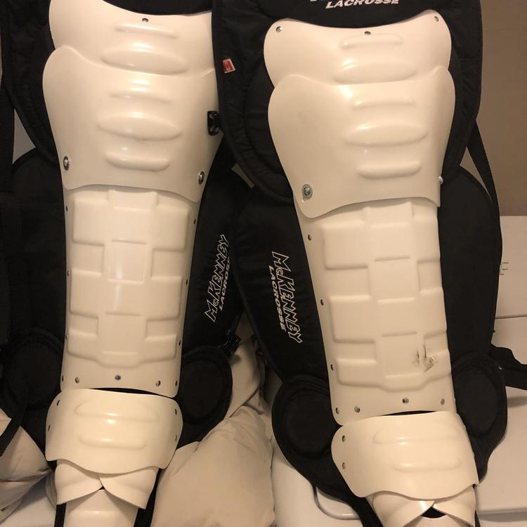 "New Mckenney LG9000 22/"" box indoor lacrosse goalie shin leg guards category #3"