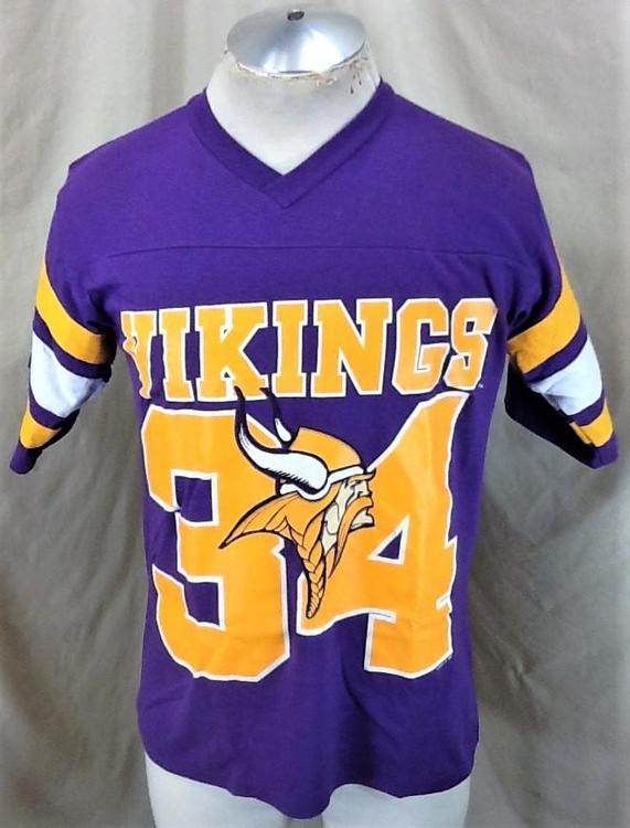 designer fashion 59173 017af Vintage 90's Logo 7 Minnesota Vikings #34 (Med) NFL Football Graphic  T-Shirt Purple
