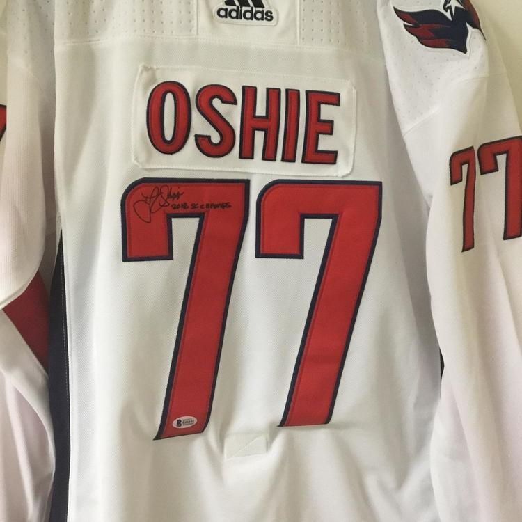 buy online 26514 e8293 TJ Oshie Signed Autographed Capitals Jersey Beckett Authentication