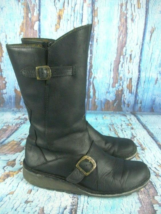 2b895bb8432 Fly london Mes 2 Black Leather Mid Calf Wedge Boots Side Zip Women's Size  39 / 8