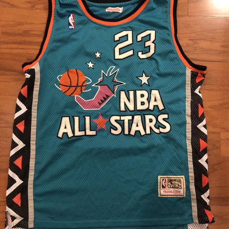 on sale ceea0 91207 Men's Michael Jordan Mitchell & Ness Aqua 1996 NBA All-Star Game Hardwood  Classics Jersey