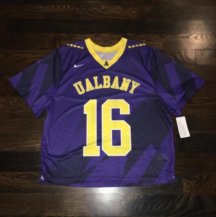 newest 4c6c1 61692 New Nike University Albany Great Danes #16 Lacrosse Jersey LG ( retails for  $70 )