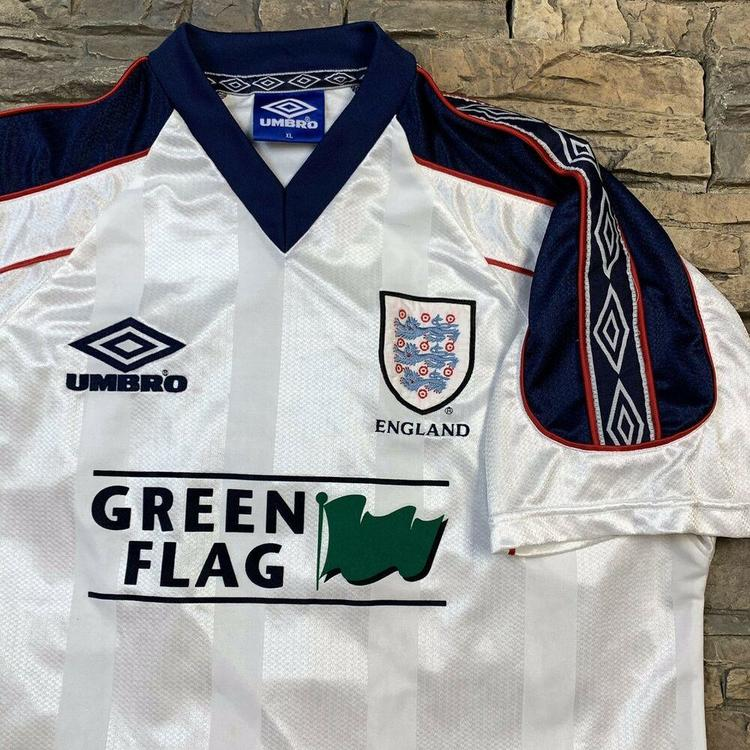 pretty nice 779f3 dc0d3 VTG England National Soccer Team Umbro White Jersey 1990s Mens XL