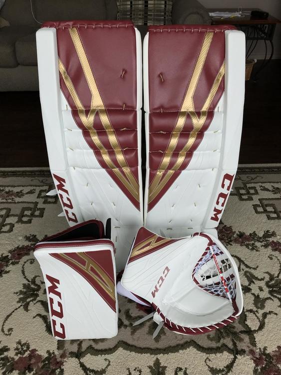 NEW Canadian Made Pro Return CCM Eflex 4 Goalie Pads, Glove, and Blocker -  34+2 5