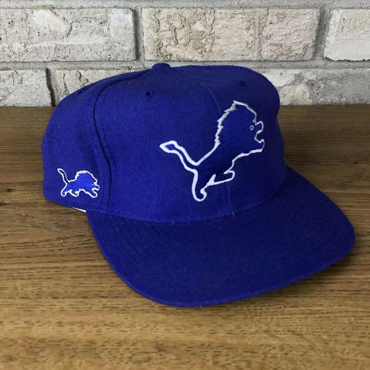 779fdef0 RARE VTG 90s AMERICAN NEEDLE BLOCKHEAD Detroit Lions Snapback Hat Wool  Vintage