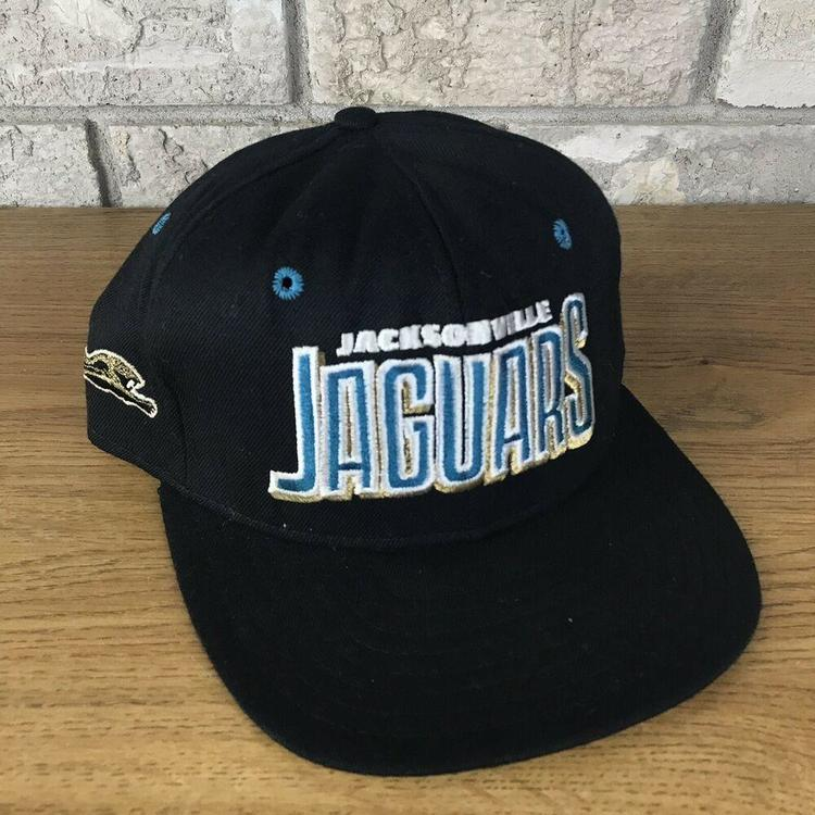 a362069b2 Vtg 90s Jacksonville Jaguars AJD Snapback Hat Cap Blockhead Script NFL  Vintage