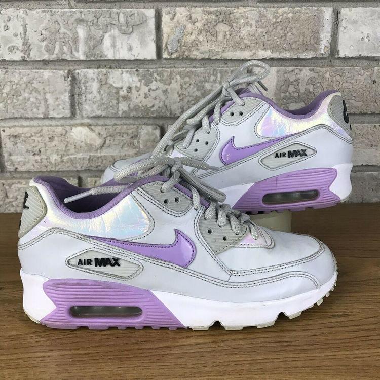 the latest f781a 41e51 Nike Air Max 90 (GS) 859633-002 Size 6y Womens Size 7.5 Purple And Gray Rare