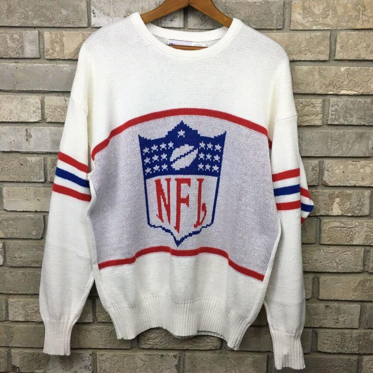 reputable site 8fc8c 271d6 VINTAGE 80s NFL FOOTBALL CLIFF ENGLE Mens XL Bold Spellout Knit Sweater  Crewneck